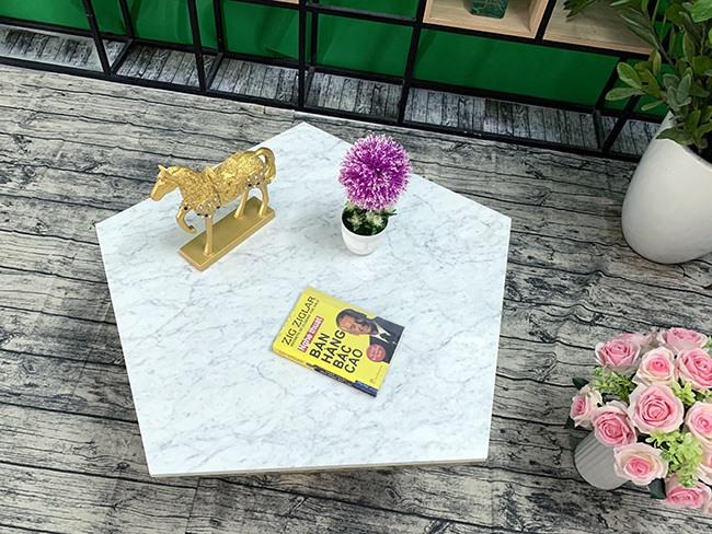 Mặt bàn trà ngũ giác Đá trắng ý ĐK 800 11
