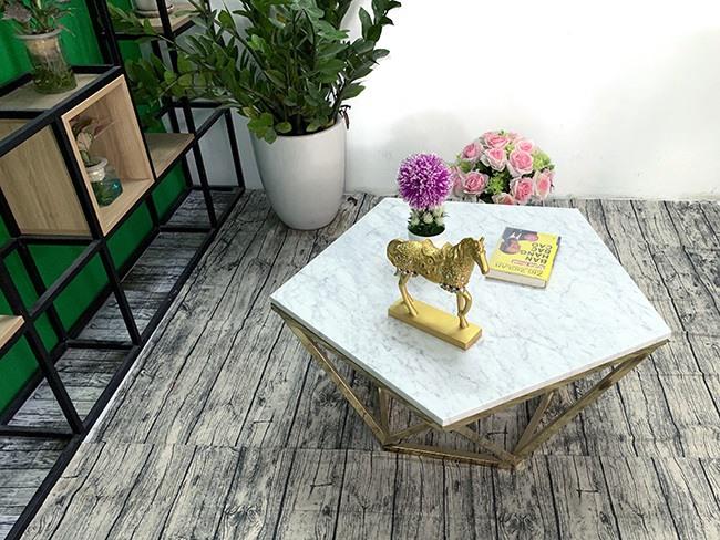 Mặt bàn trà ngũ giác Đá trắng ý ĐK 800 12