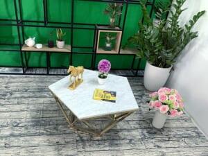 Mặt bàn trà ngũ giác Đá trắng ý ĐK 800 2
