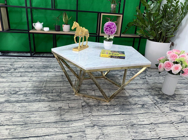 Mặt bàn trà ngũ giác Đá trắng ý ĐK 800 3