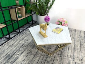 Mặt bàn trà ngũ giác Đá trắng ý ĐK 800 7